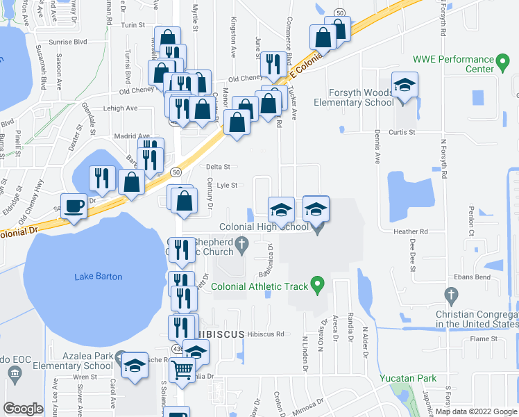 map of restaurants, bars, coffee shops, grocery stores, and more near 647 Golden Sunshine Circle in Orlando