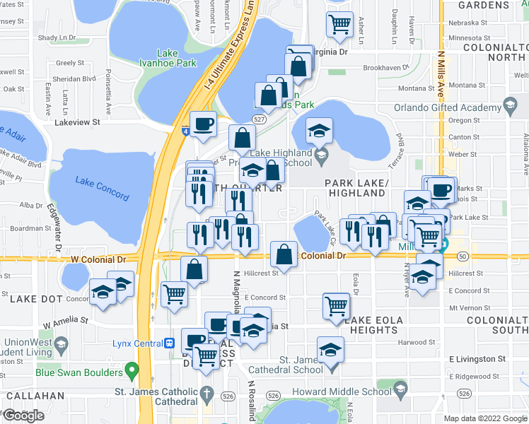 map of restaurants, bars, coffee shops, grocery stores, and more near 815 Irma Avenue in Orlando