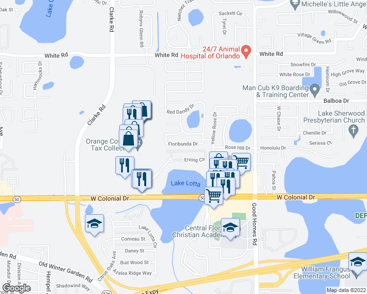 map of restaurants, bars, coffee shops, grocery stores, and more near 2035 Erving Circle in Ocoee