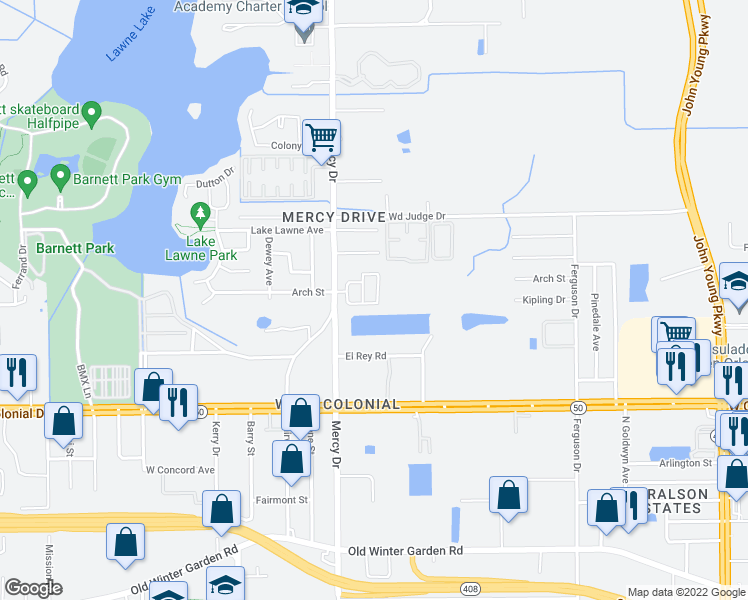 map of restaurants, bars, coffee shops, grocery stores, and more near 1151 Golden Gate Avenue in Orlando