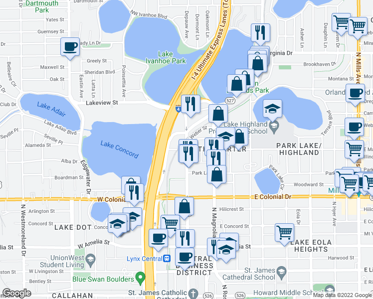 map of restaurants, bars, coffee shops, grocery stores, and more near N Orange Ave & W Marks St in Orlando