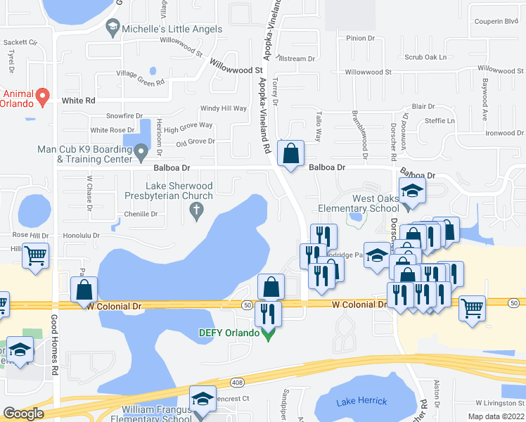 map of restaurants, bars, coffee shops, grocery stores, and more near 1724 London Crest Dr in Orlando