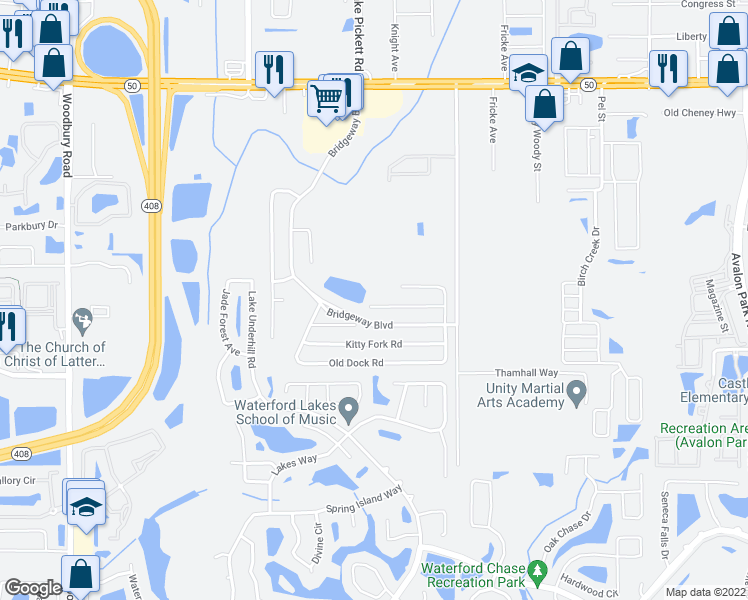 map of restaurants, bars, coffee shops, grocery stores, and more near 13413 Madison Dock Road in Orlando