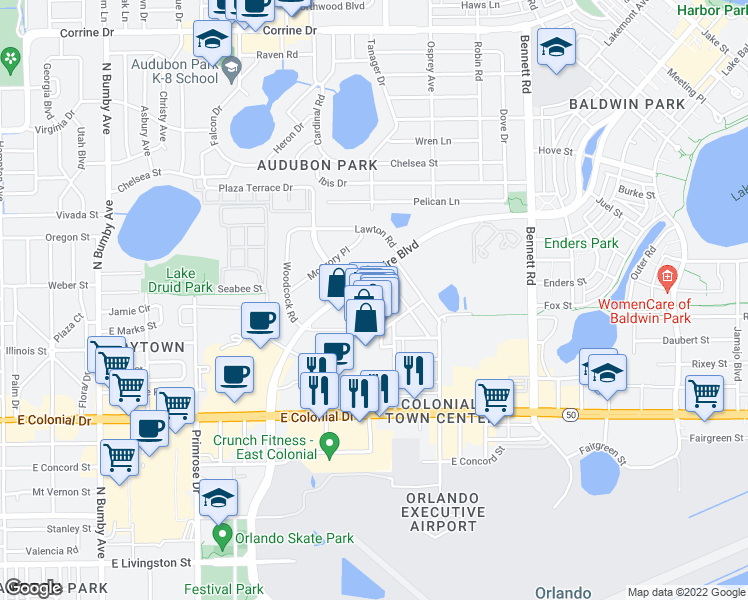 map of restaurants, bars, coffee shops, grocery stores, and more near 825 McCullough Avenue in Orlando