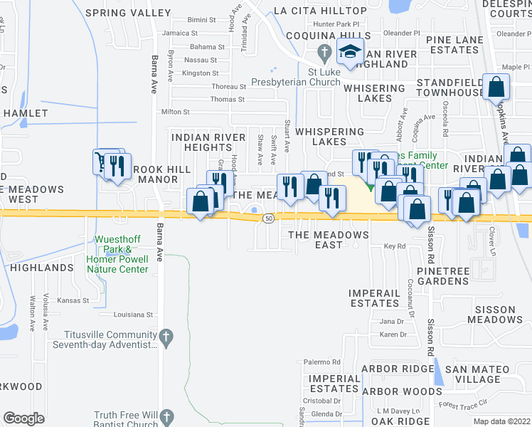 map of restaurants, bars, coffee shops, grocery stores, and more near 1250 Cheney Highway in Titusville