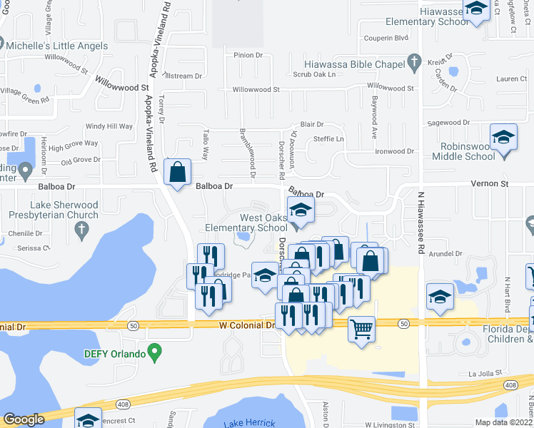 map of restaurants, bars, coffee shops, grocery stores, and more near 7200 Woodhill Park Drive in Orlando