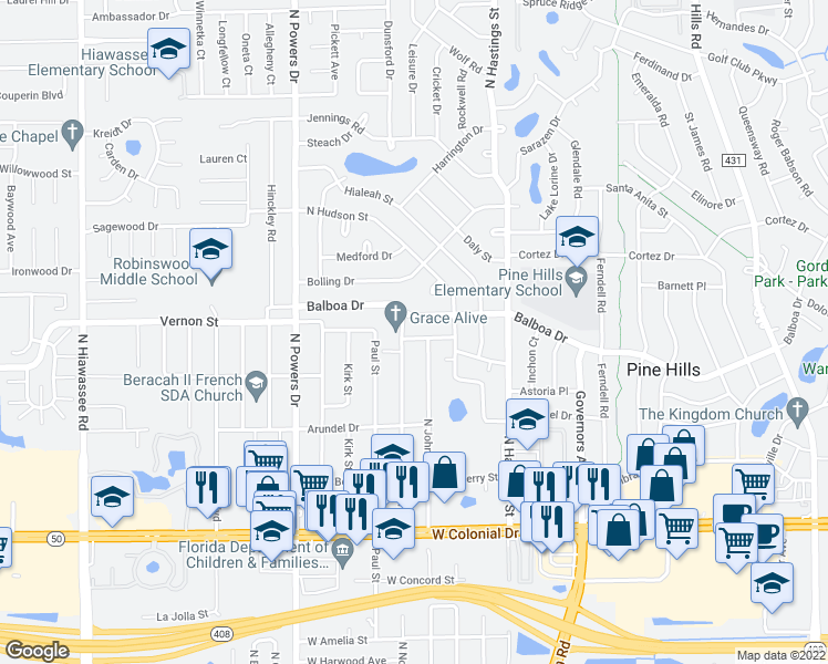 map of restaurants, bars, coffee shops, grocery stores, and more near 6009 Avery Street in Orlando