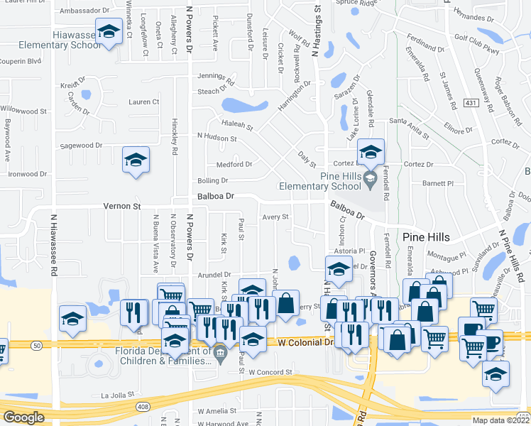 map of restaurants, bars, coffee shops, grocery stores, and more near 6009 Avery St in Orlando