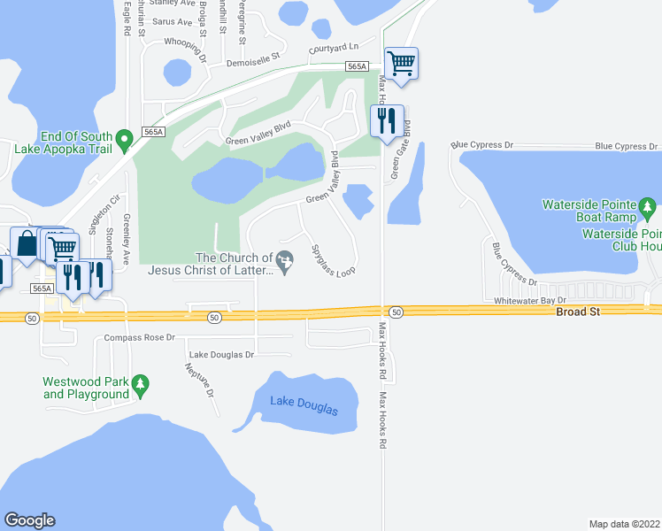 map of restaurants, bars, coffee shops, grocery stores, and more near 8647 Spyglass Loop in Clermont