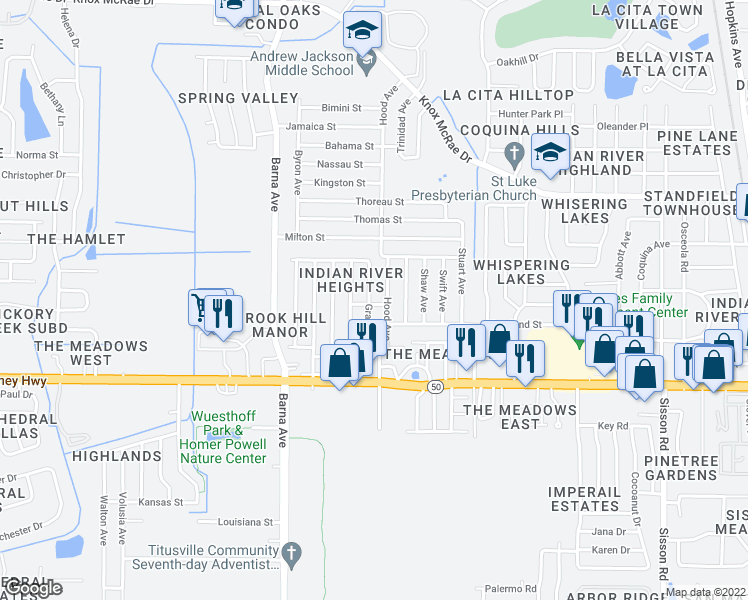 map of restaurants, bars, coffee shops, grocery stores, and more near 4465 Gray Avenue in Titusville