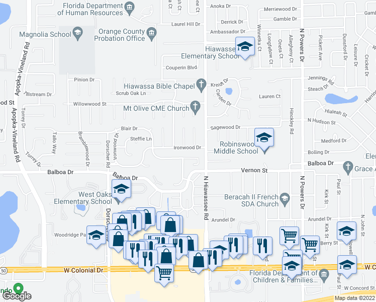 map of restaurants, bars, coffee shops, grocery stores, and more near 7016 Ironwood Drive in Orlando