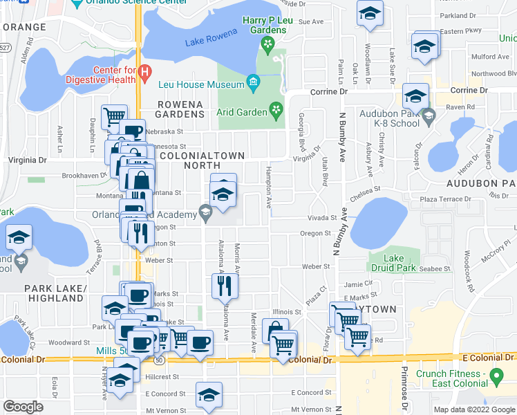 map of restaurants, bars, coffee shops, grocery stores, and more near 1124 Hardy Avenue in Orlando