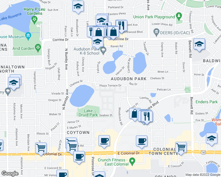 map of restaurants, bars, coffee shops, grocery stores, and more near 2962 Plaza Terrace Drive in Orlando