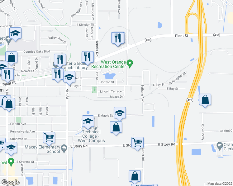 Winter Garden Florida Map.1130 Lincoln Terrace Winter Garden Fl Walk Score