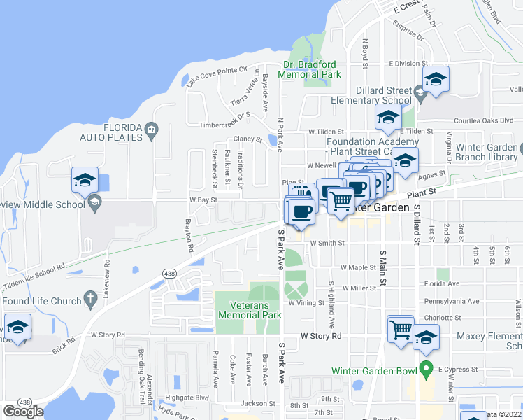 map of restaurants, bars, coffee shops, grocery stores, and more near 584 West Bay Street in Winter Garden