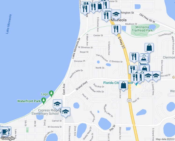 map of restaurants, bars, coffee shops, grocery stores, and more near 250 Crestview Drive in Clermont