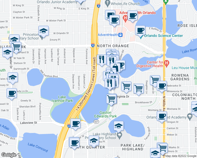 map of restaurants, bars, coffee shops, grocery stores, and more near 217 Northeast Ivanhoe Boulevard in Orlando