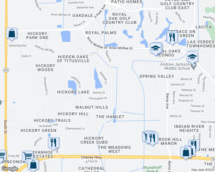 map of restaurants, bars, coffee shops, grocery stores, and more near 4474 Bethany Lane in Titusville