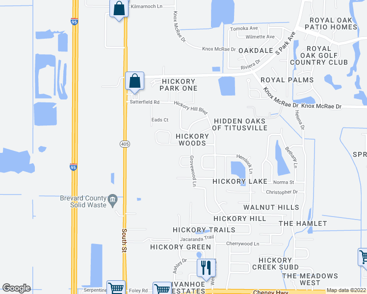 map of restaurants, bars, coffee shops, grocery stores, and more near 3015 Sandalwood Lane in Titusville