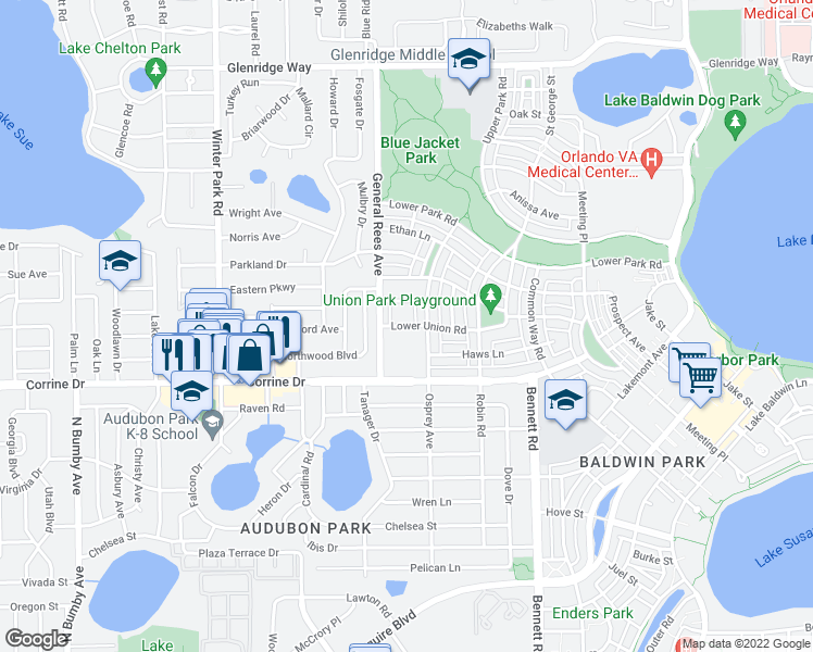 map of restaurants, bars, coffee shops, grocery stores, and more near 3702 Derran Lane in Orlando