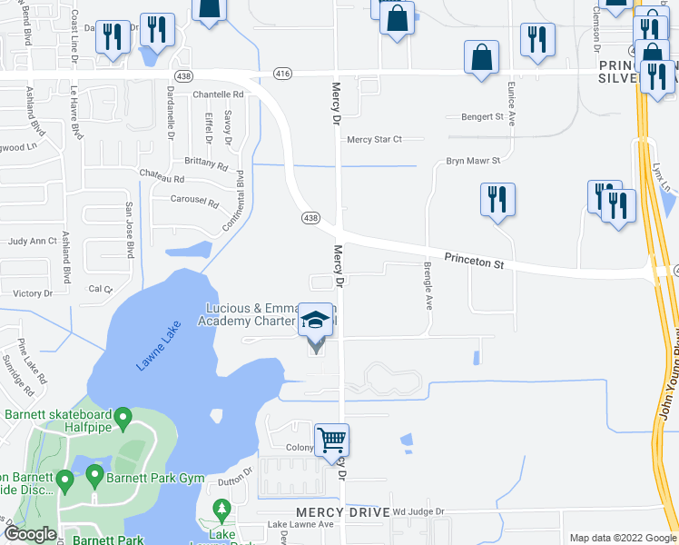 map of restaurants, bars, coffee shops, grocery stores, and more near 2012 Mercy Drive in Orlando