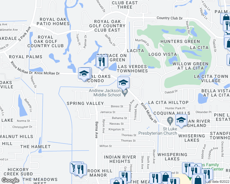 map of restaurants, bars, coffee shops, grocery stores, and more near 1401-1499 Knox McRae Drive in Titusville