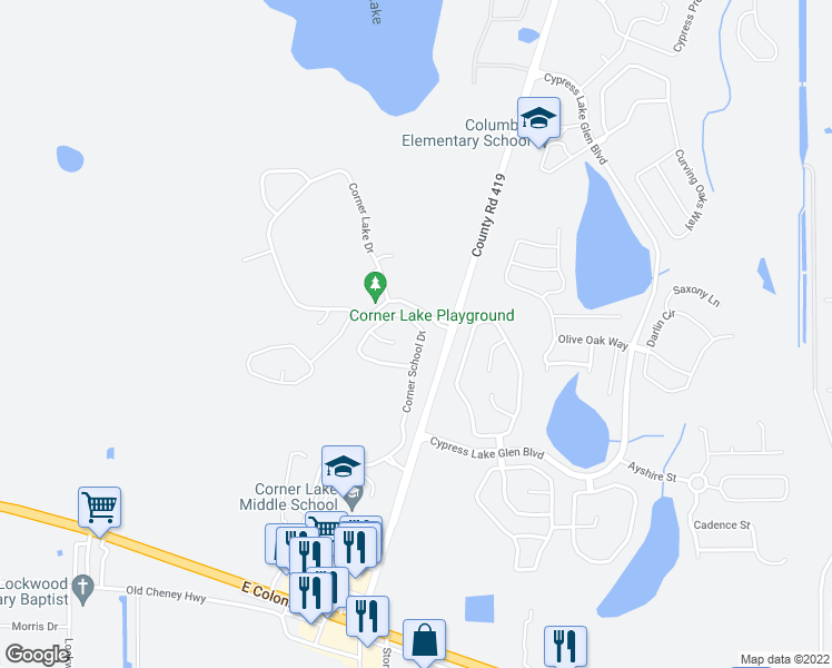 map of restaurants, bars, coffee shops, grocery stores, and more near 2056 Corner School Drive in Orlando