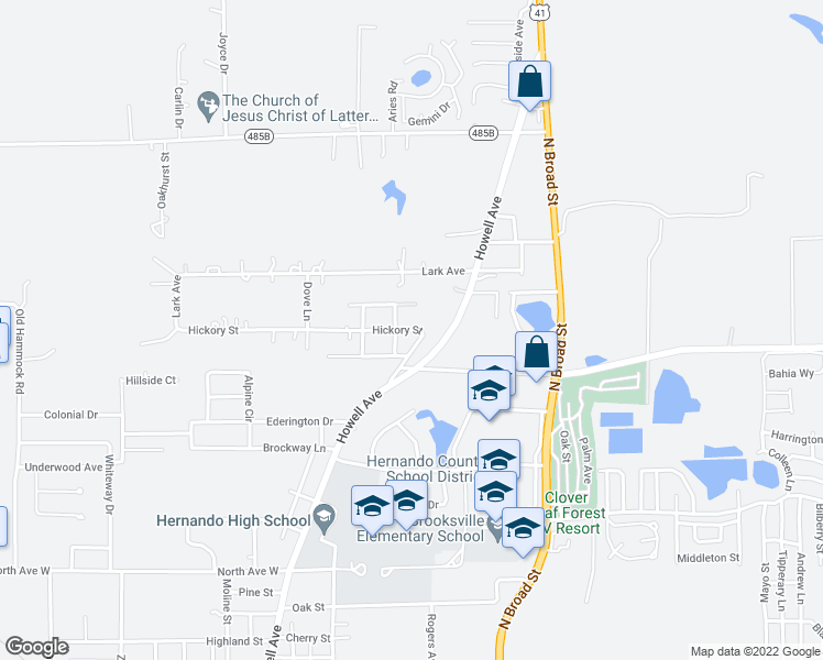 map of restaurants, bars, coffee shops, grocery stores, and more near 330 Hickory Street in Brooksville