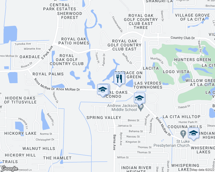 map of restaurants, bars, coffee shops, grocery stores, and more near 1880 Knox McRae Drive in Titusville