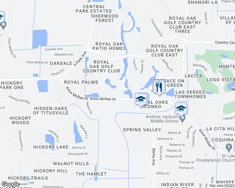 map of restaurants, bars, coffee shops, grocery stores, and more near 2190 Knox McRae Drive in Titusville