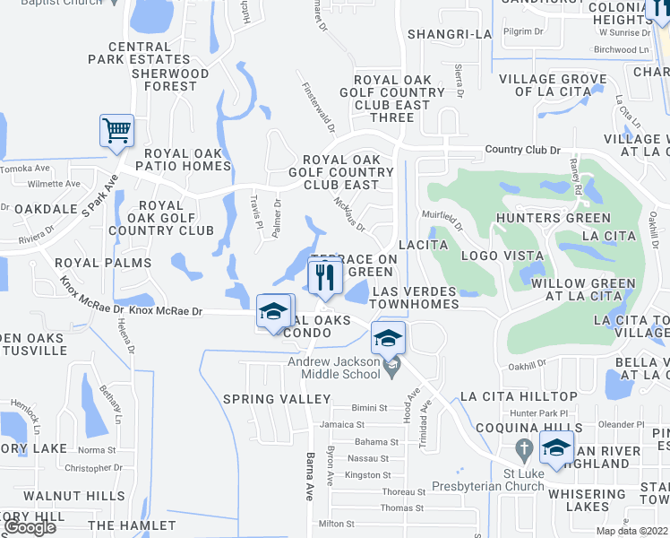 map of restaurants, bars, coffee shops, grocery stores, and more near 3680 Barna Avenue in Titusville