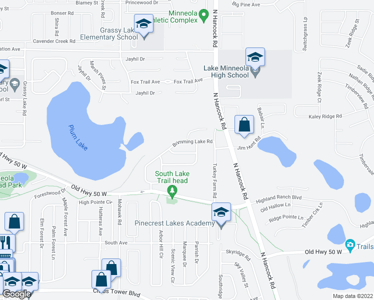 map of restaurants, bars, coffee shops, grocery stores, and more near 409 Bramble Way in Minneola