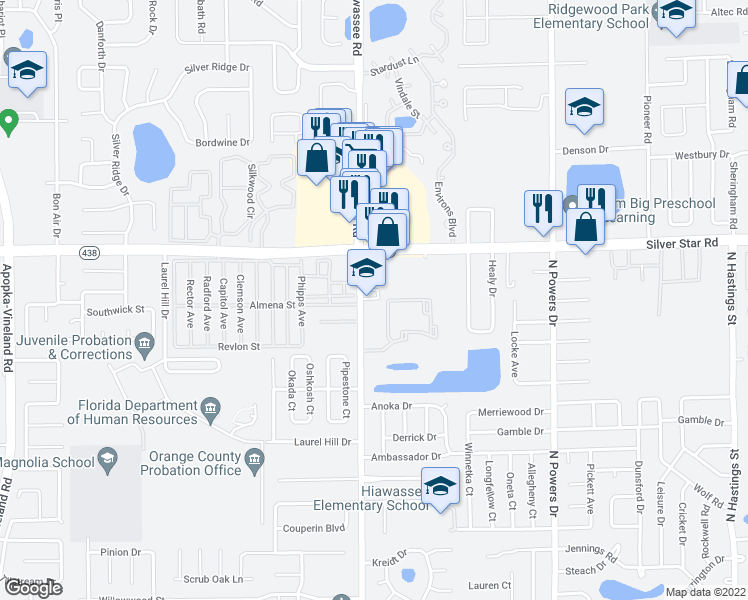 map of restaurants, bars, coffee shops, grocery stores, and more near 2450-2474 N Hiawassee Rd in Orlando