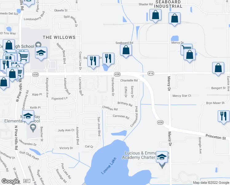 map of restaurants, bars, coffee shops, grocery stores, and more near 2385 Dardanelle Drive in Orlando