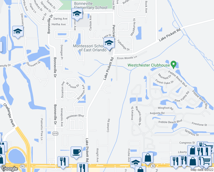 map of restaurants, bars, coffee shops, grocery stores, and more near 2298-2442 Lake Pickett Road in Orlando