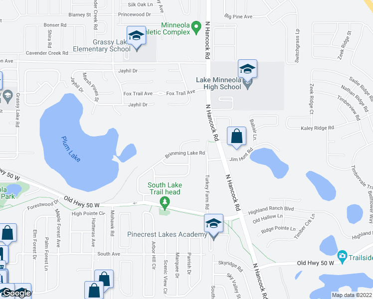 map of restaurants, bars, coffee shops, grocery stores, and more near 324 Brimming Lake Road in Minneola