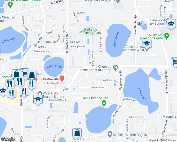 map of restaurants, bars, coffee shops, grocery stores, and more near 534 Canby Circle in Ocoee