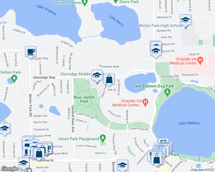 map of restaurants, bars, coffee shops, grocery stores, and more near 2951 Bailey Lane in Orlando