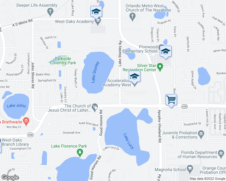 map of restaurants, bars, coffee shops, grocery stores, and more near 2762 Lake Stanley Road in Orlando