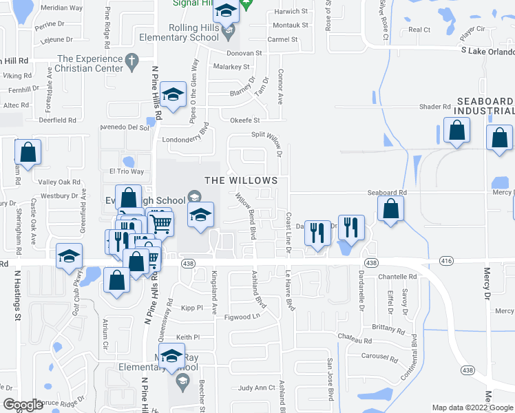map of restaurants, bars, coffee shops, grocery stores, and more near 4751 Almond Willow Drive in Orlando