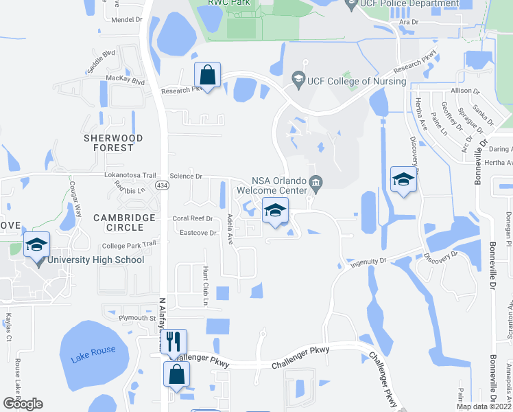 map of restaurants, bars, coffee shops, grocery stores, and more near 2805 Einstein Way in Orlando