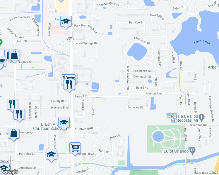 map of restaurants, bars, coffee shops, grocery stores, and more near 3184 Crown Jewel Court in Orlando
