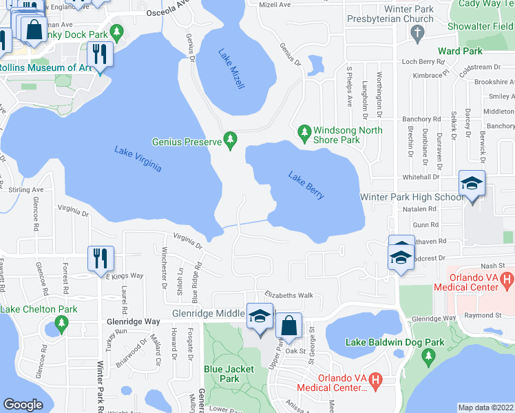 map of restaurants, bars, coffee shops, grocery stores, and more near 1128 Preserve Point Drive in Winter Park
