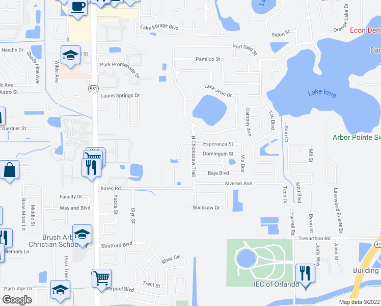 map of restaurants, bars, coffee shops, grocery stores, and more near 7821 Chediston Circle in Orlando