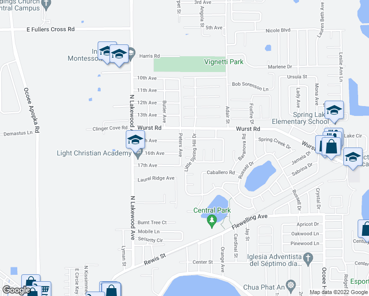 map of restaurants, bars, coffee shops, grocery stores, and more near Little Iris Court in Ocoee