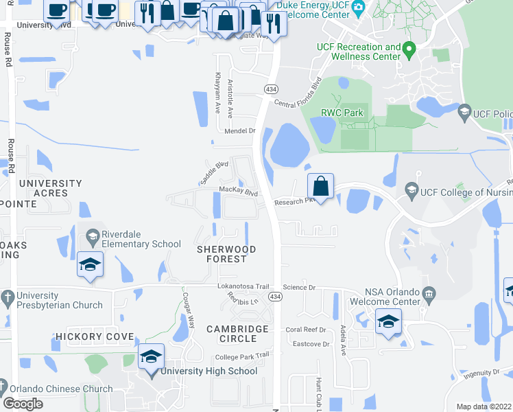 map of restaurants, bars, coffee shops, grocery stores, and more near Research Parkway & Jefferson Commons Circle in Orlando