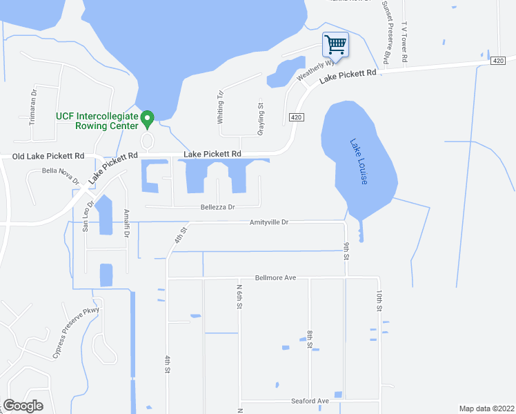map of restaurants, bars, coffee shops, grocery stores, and more near 18241 Bellezza Drive in Orlando