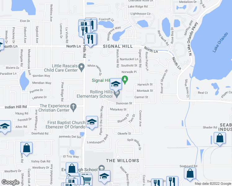 map of restaurants, bars, coffee shops, grocery stores, and more near 4903 Donovan Street in Orlando