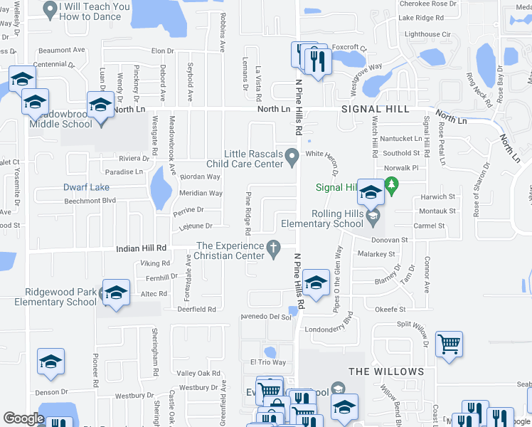 map of restaurants, bars, coffee shops, grocery stores, and more near 3803 Mitchell Road in Orlando