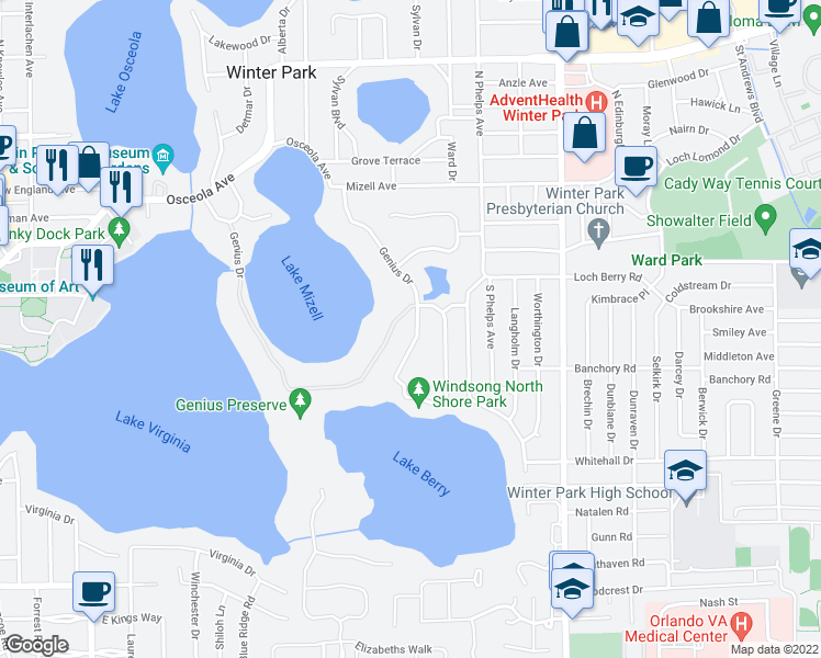 map of restaurants, bars, coffee shops, grocery stores, and more near 409 Genius Drive in Winter Park